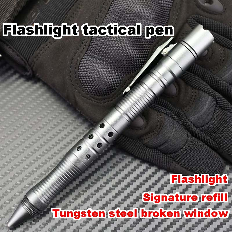 Hot Sale Practical Pocket Tungsten Steel Glass Breaker Tactical Pen with LED Light Outdoor Sports Camping Self-defense SuppliesHot Sale Practical Pocket Tungsten Steel Glass Breaker Tactical Pen with LED Light Outdoor Sports Camping Self-defense Supplies