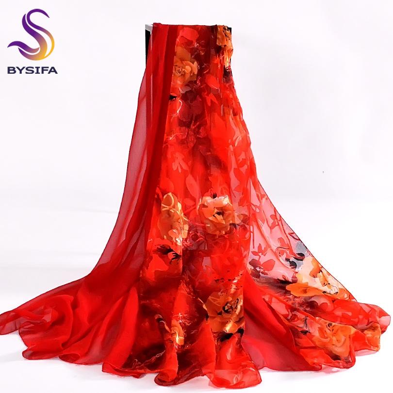 [BYSIFA] Gold Red Women Silk   Scarf   Cape Fashion Brand Chiffon Long   Scarves     Wraps   Spring Autumn Flower   Scarf   Shawl 180*80cm