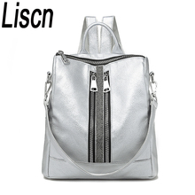 Womens Daypacks Silver New Zipper Women Backpack Travel Stripe Small Backpacks PU Leather Waterproof Totes Luxury Shoulder Bag