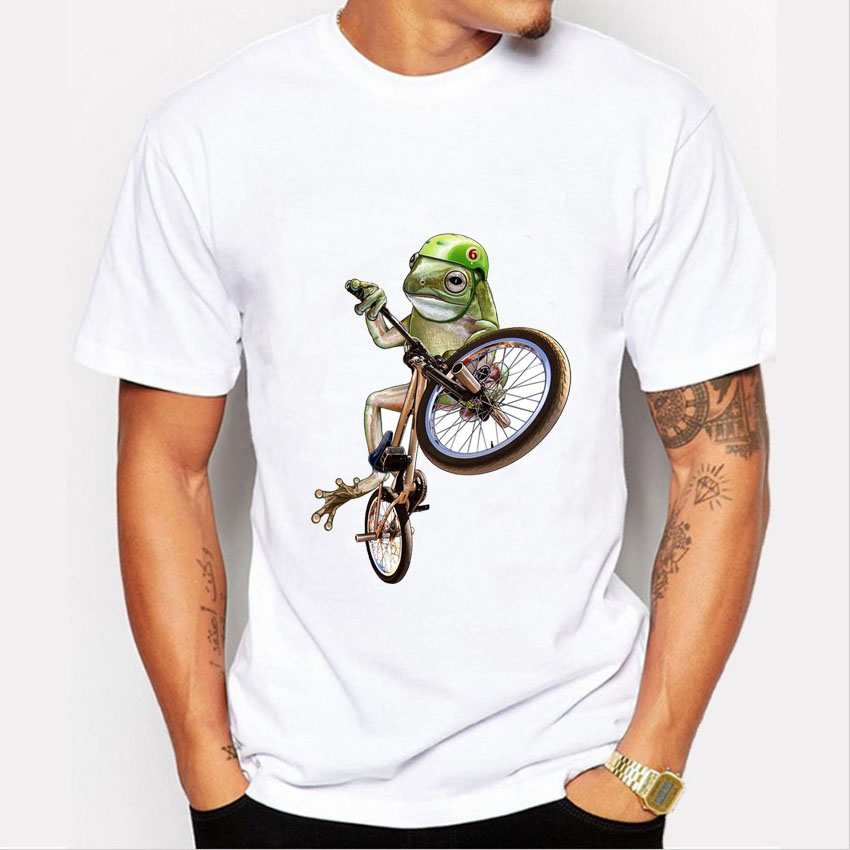 New Arrival Men's Crazy Bicycle Frog T-shirt 2016 Summer Creative Funny Design Short Sleeve Tee Shirt Cool O-neck Tshirt Homme