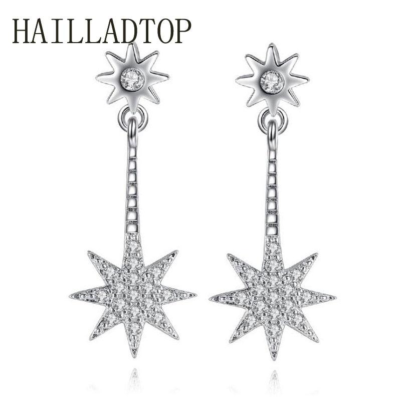 HAILLADTOP Star Earrings font b Luxury b font font b Crystal b font Drop Earrings Women
