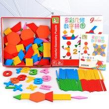 Деревянные детские игрушки деревянные головоломки доски цифры и формы Красочные образования деревянная настольная игра для детей