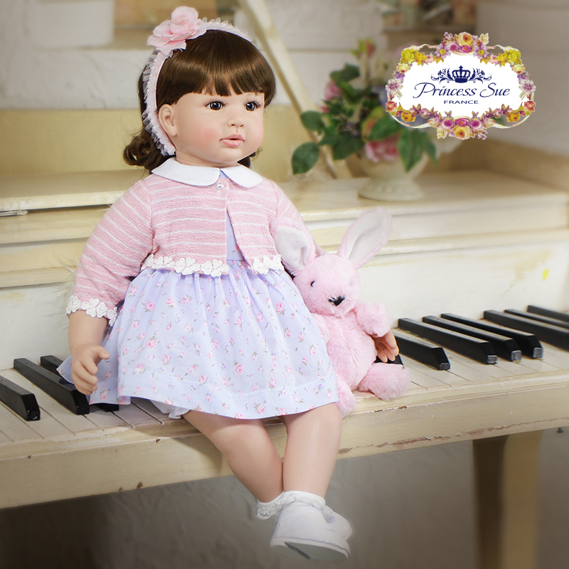 """Pursue 24""""/60 cm Reborn Babies Doll Toddler Girl Brown Curly Hair With Flower Hairpin Princess Matching Clothes Holiday Presents"""