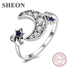 SHEON 100% 925 Sterling Silver Moon And Star Female Adjustable Finger Ring With CZ for Women Sterling Silver Jewelry Anel sheon 100