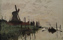 Claude Monet  Modern Impressionist Windmill At Zaandam Landscape Prints to Canvas Oil Painting Home Wall Art Decoration Custom painting the impressionist landscape