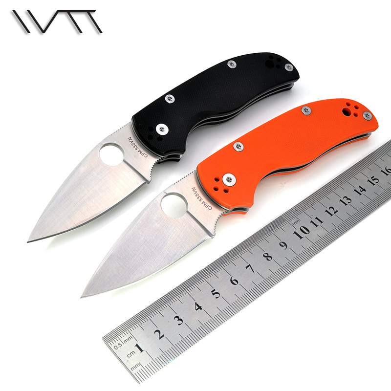WTT C41 Hunting Folding font b Knife b font With D2 Blade G10 Handle font b