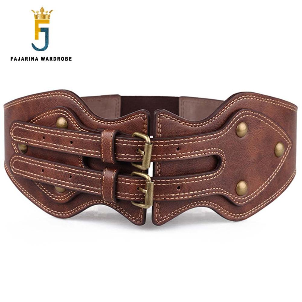 FAJARINA Casual Retro Style Double Needle Buckle Ladies Elastic Waistband Belt Female Models Overcoat Girdle For Women LDFJ013