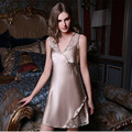 Pure Silk Lounge Quality Sexy Lace Silk Nightgown 100% Mulberry Silk Sleepwear Women Plus Size Sleeveless Dress M/L/XL