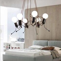 Creative Iron Hanglampen Menselijk Lampenkap Armatuur Industriële Home Decor Opknoping Lamp Restaurant Woonkamer Verlichtingsarmaturen-in Hanglampen van Licht & verlichting op