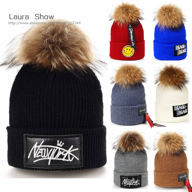 cb9f170f042 Online Shop LAURASHOW Kids Boys Girl Hip Hop Cap Real Raccoon Fur Ball Pom  Poms Knitted Wool Beanie Hat Warm Winter