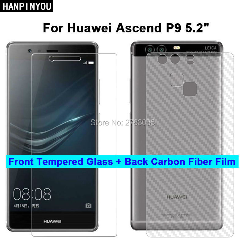 For Huawei Ascend P9 5.2 2 Pcs = Soft Back Carbon Fiber Film + Ultra Thin Clear Premium Tempered Glass Front Screen Protector