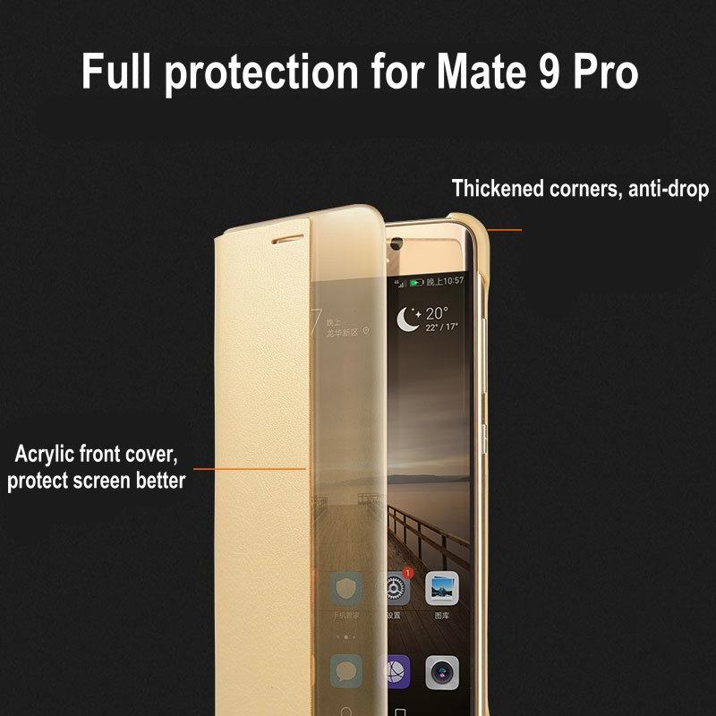 Untuk Huawei Pasangan 9 Pro Kasus Flip Penutup PU Kulit Cerdas Window - Aksesori dan suku cadang ponsel - Foto 4