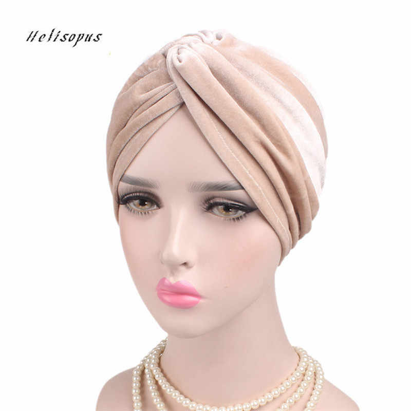 Helisopus Ladies New Stretch Cross Velvet Turban Hat Chemo Cap Soft Headwrap Bandana Women Muslim Headscarf