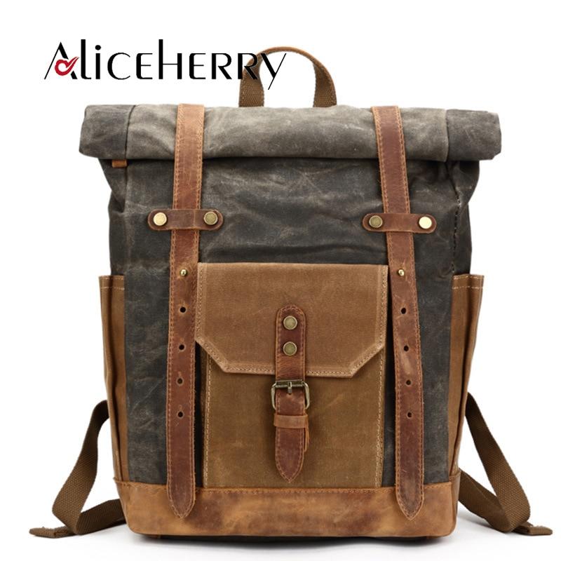 все цены на Vintage Canvas Leather Famous Brand Backpack Male Mochila Escolar Girls Laptop Backpack for Teens School Crossbody Bags онлайн