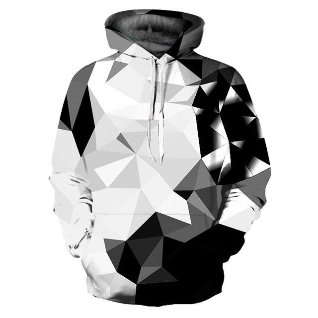 Mr.1991INC New Fashion Argyle Color Blocks Hoodies Men/Women 3d Sweatshirts Print White Black Diamonds Blocks Hooded Hoodies