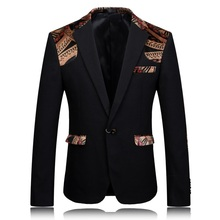 2015 new arrival men's printed patchwork velveteen casual black blazers jacket men , Wedding dress free shipping plus-size M-4XL