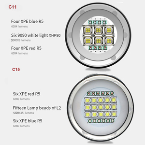 Image 4 - Latarka LED do nurkowania wykorzystuje 6 XHP70 /90 koraliki do lampy wyróżnij 20000 lumenów fotografia wideo światło z niebieskim + białym + czerwonym