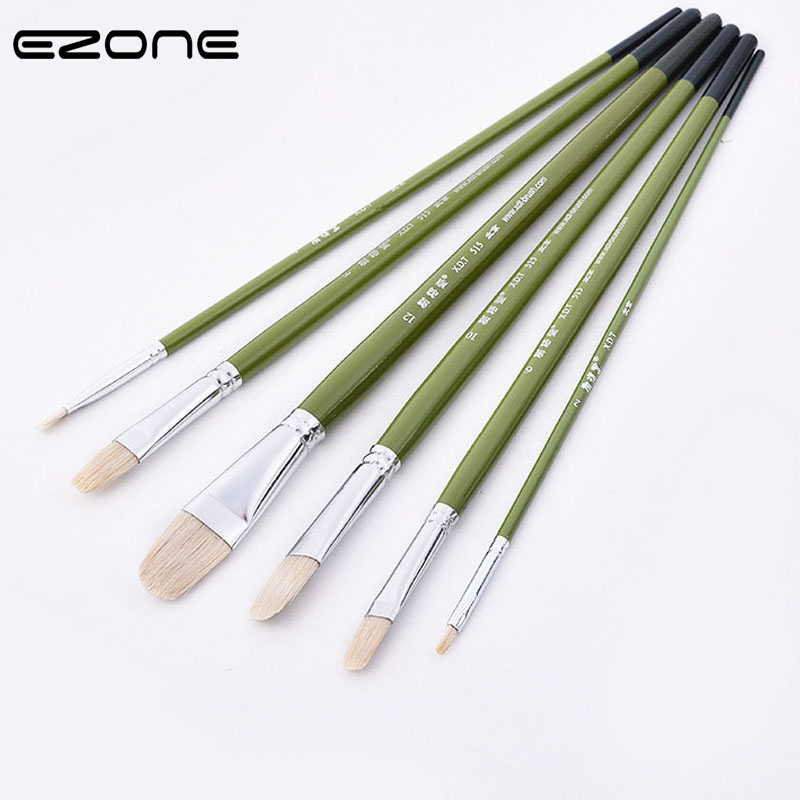 EZONE Green Paint Brush Wooden Handel Different Size Bristle Brush For Watercolor Oil Acrylic Gouache Painting Office Supply цена