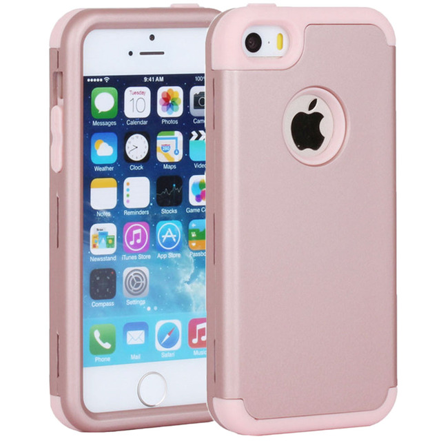 newest c2c10 644e9 US $4.79  Rubber Cases for Apple iPhone 5 5S SE 5C S C 3in1 Soft & Hard  Heavy Duty Silicone Cover Plastic Phone Bag Case Covers-in Fitted Cases  from ...
