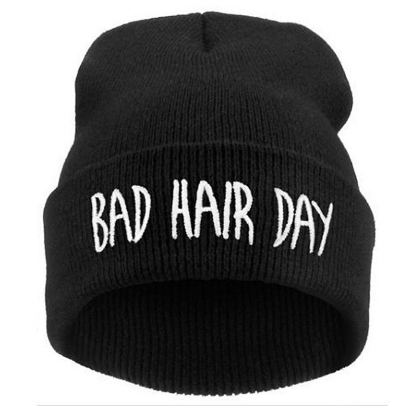 2019 New Skullies Beanies Bad Hair Day Embroidery Knitted Hats Winter Warm Unisex Casual Male Cap Boy Hip Hop Autumn Female Hat