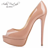 2017 Summer Pumps High Heels Peep Toe Stiletto Dress Shoes Platform Patent Leather Rose Red Silver