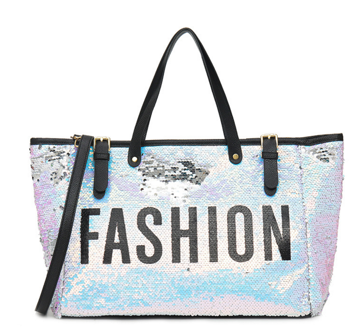 Fashion Women Mermaid Sequin Letter Travel Bags Femme High Capacity Street Shoulder Bags Casual Carry On Luggage Tote D396