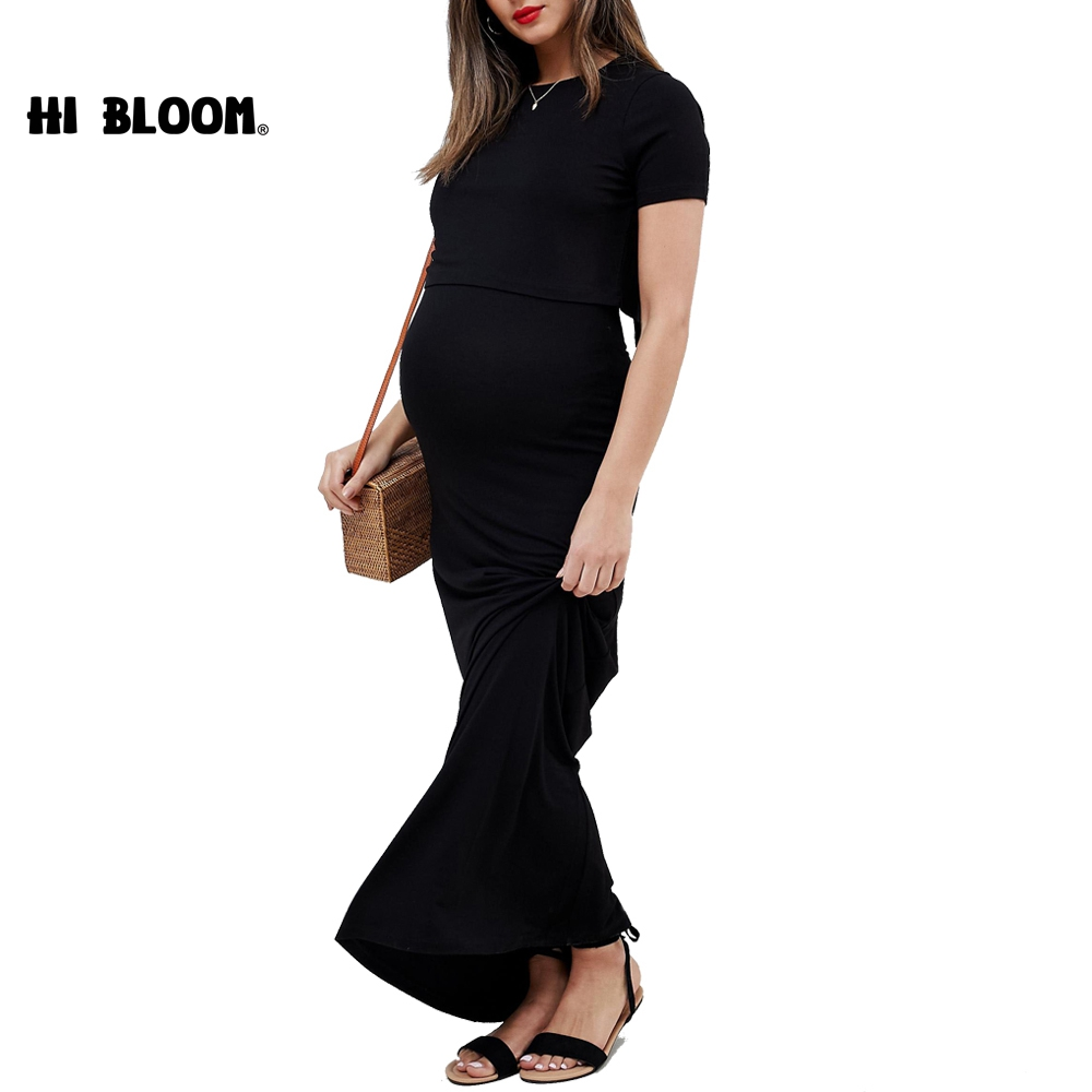 Casual Summer Maternity Long Dresses Short Sleeve Dress For Pregnant Women Brief Maternity Nursing Clothes Pregnancy Dresses women s side ruched maternity clothes striped bodycon dress mama summer casual short sleeve wrap dresses pregnancy clothes