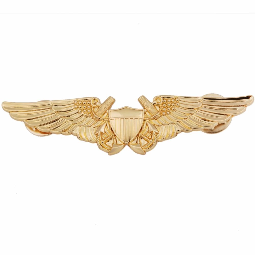 US USMC AVIATION OFFICER PILOT GOLD WING BADGE PIN