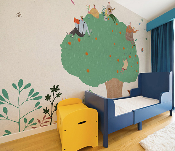 Us 12 4 38 Off Bacaz Le Tree Teachers Cartoon Stickers Wallpaper Murals For Baby Nursery Kids Room Wall Mural Paper Kindergarten In