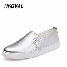 HKOVAL Women Shoes Sneaker Loafers Casual Genuine Leather Moccasins Ladies Driving Shoe Female Flats Mother Footwear Shoes цена 2017