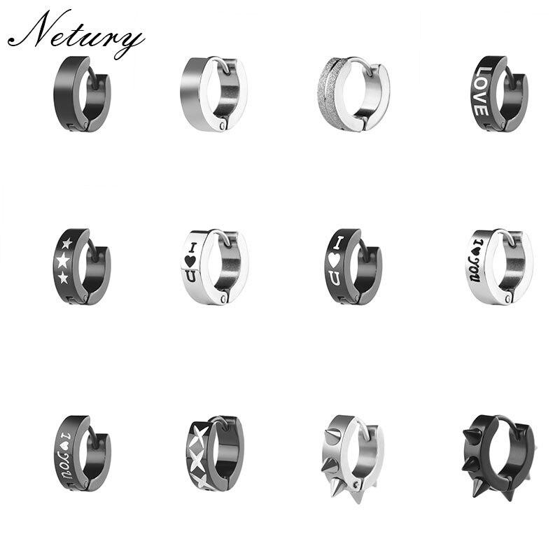 Netury Women Men fashion earrings hiphop cross star rivet rock Punk stud earrings Europe bar party simple cool Unisex jewelry