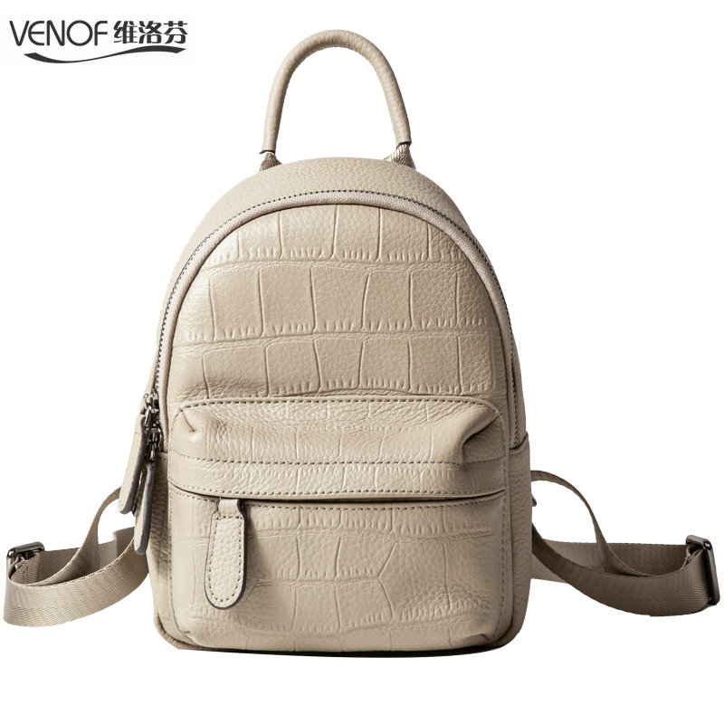 VENOF Multifunction women Genuine Leather mini kanken Backpack girl Zipper small School Bags Fashion crocodile grain Travel Bag 440c stainless steel folding knife with hanging buckle