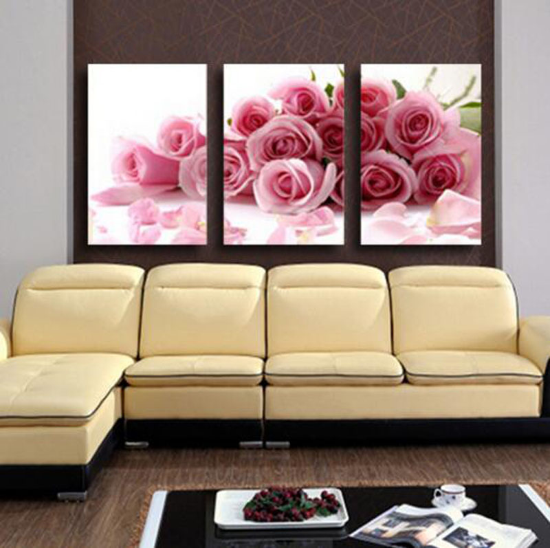 Romantic Design Loving Room Decoration Pink Rose Flowers 3 Pcs Canvas Pantings Bedroom P ...