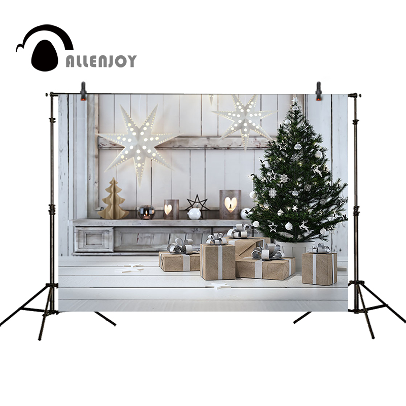 Allenjoy Christmas backdrop white star lantern decoration wooden board presents tree indoor photo background christmas