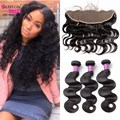Malaysian Virgin Hair With Closure 7A Malaysian Hair Weaves 3 Bundles Malaysian Body Wave With Lace Frontal Closure Human Hair