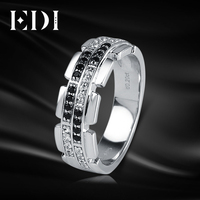 EDI Luxury Natural Diamond 14K 585 White Gold Wedding Ring For Men Real Diamond Bands Jewelry