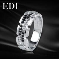EDI Luxury Natural Diamond 14K 585 White Gold Wedding Ring For Men Real Diamond Bands Jewelry Gentleman Christmas Gift