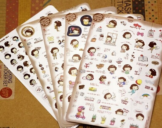 Borges South Korea stationery super cute girl girl cookies kawaii stickers PVC transparent stickers stickers платье girl korea hp 5358 2015