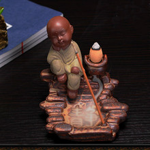 T The Little Monk Yixing Ceramic Incense Burners Creative Backflow Cone Censer Ornaments Sandalwood Holder Home Decoration