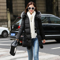 Warm Women Down Jackets 2016 Winter Fur Collar Hooded Long Parka Coat Cotton Padded Slim Ladies Jackets And Coats CT141