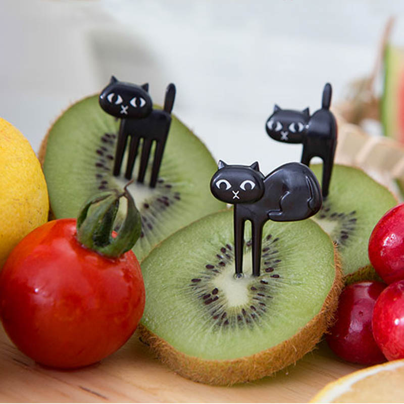 FHEAL New 6Pcs Mini Animal Fork Fruit Picks Cute Cartoon Black Cat Children Fork Toothpick Bento Lunch Box Decor Accessories  (5)