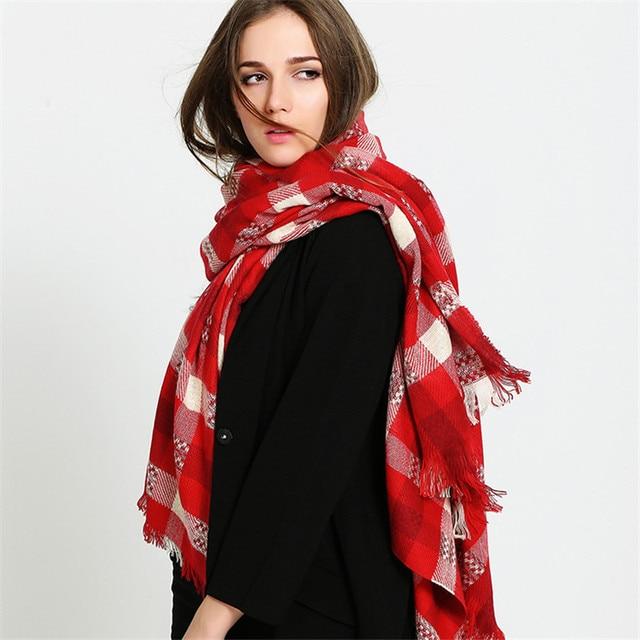 codice promozionale 4b359 8f090 US $12.95 |New Fashion Rosso Bianco Plaid Sciarpe Belle Cotone Cachemire  per L'inverno Le Donne Sciarpa Grandi Sciarpe Duftgold in New Fashion Rosso  ...