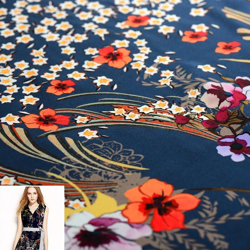 130x112cm/piece Mazarine Orange Tropical Plant Flower 100% Real Silk Fabric Cloth For Manual Dress Clothing DIY Sewing Patchwork