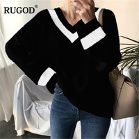 RUGOD Knittes Stripe V Neck loose sweater women Casual Long Sleeve Straight Plus size pullover women pull femme hiver