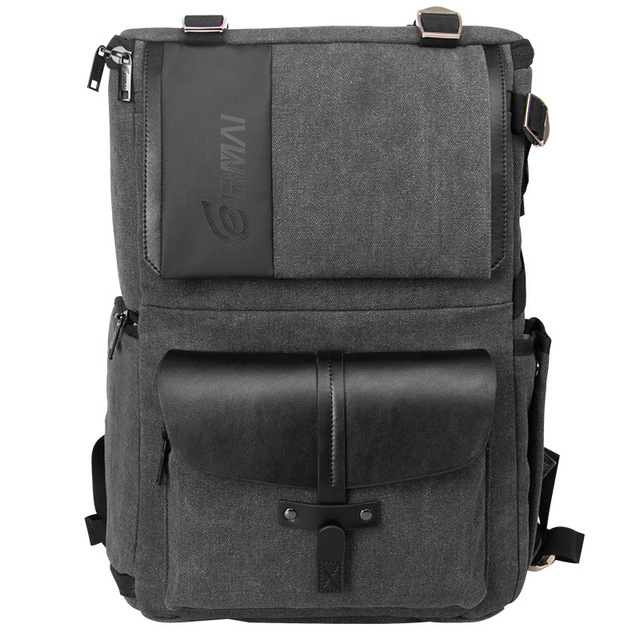 Eirmai Grey Canvas Large Capacity Camera Video Shoulders Backpack Waterproof w Rain Cover fit 15inch Laptop for DSLR Photo Drone