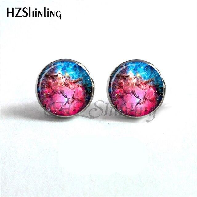 Galaxias del Universo Crimson Nebula 12mm Hexagon Cabochon Earrings