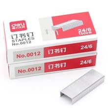 1 Pack 1000Pcs Stainless Staples Standard Size 12mmx6mm 24/6 For Stapler Silver Color Deli 0011