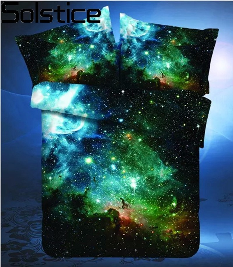 Solstice Home Textile 3D Outer Universe Space 4pcs Bedding Sets Beddingset Bed Linen Duvet Cover Bed Sheet Pillowcase/bed Set