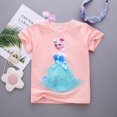 Princess T-Shirt Elsa Tops Children Tees Baby-Girl Sweet Cartoon Cute And Summer Sofia