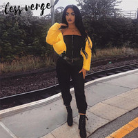 lessverge Off shoulder sexy black jumpsuit women Pockets zipper tunic fitness jumpsuit Casual high street jumpsuit overalls